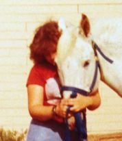 I'm a horse hugger from way back ... here with my first horse, Wicki, in a clinch.