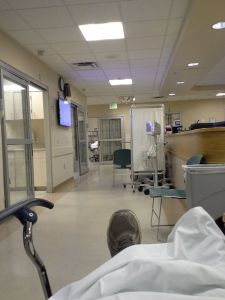 In the ER, already wondering when I could ride again.
